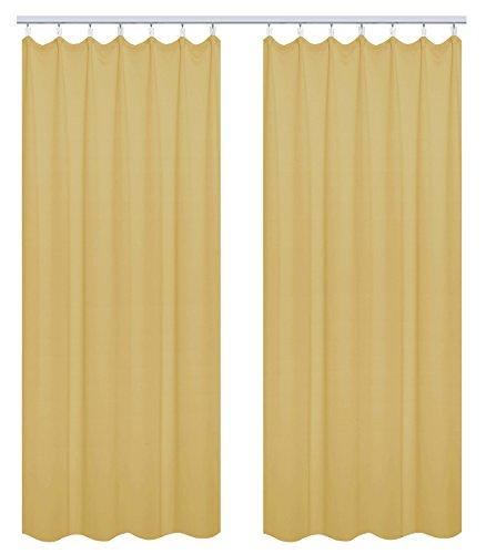 WOLTU VH5868gb-2, 2er Set Gardinen Vorhang Blickdicht mit kräuselband für schiene, Leichte & weiche Verdunklungsvorhänge für Wohnzimmer Kinderzimmer Schlafzimmer 135x245 cm Gelb