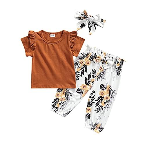 Conjunto de 3 peças de roupas para bebês e meninas para o verão, linda camiseta de manga curta com babados e calça floral, Marrom, 12-18 meses