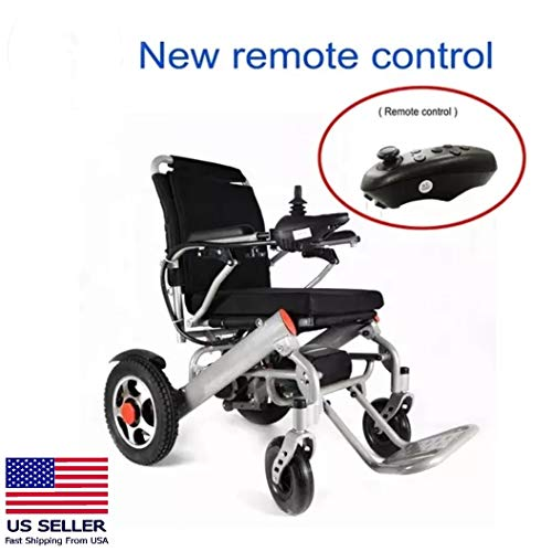 Deluxe Foldable Power Compact Mobility Aid Wheel Chair, Lightweight Folding Carry Electric Wheelchair, Motorized Wheelchair, Powerful Dual Motor Wheelchair Only 55Lbs
