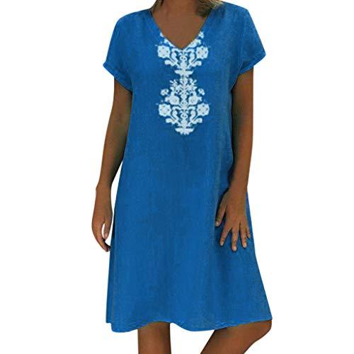 knielanges Damen Sommer Leinenkleid mit Eleganter Drucken bis Größe 50