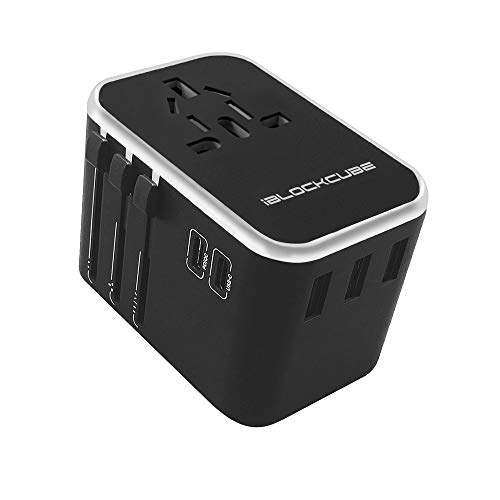 iBlockCube Worldwide Travel Plug Adapter, 35W Dual USB Type C 3 USB Ports with 3.5A Fast Speed Charger All in One Universal Adaptor Silver