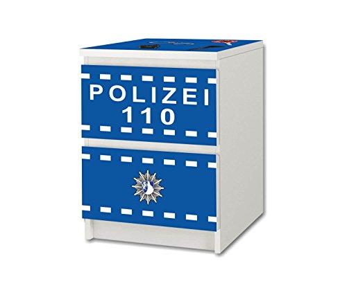 Stikkipix polis möbelfolie/dekal – NS49 – lämplig för barnkammare byrå/nattbord MALM från IKEA (möbler ingår ej)