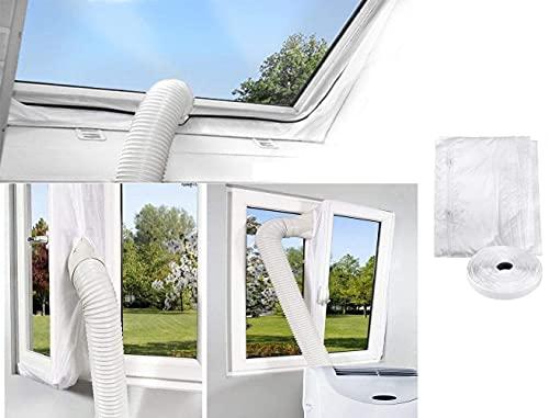 400cm Kit Calfeutrage Climatiseur Fenêtre Joint de fenêtre climatiseur Tissu de Calfeutrage de Fenêtre Fonctionne avec Toutes Les Unités De Climatisation Mobiles, Installation Facile