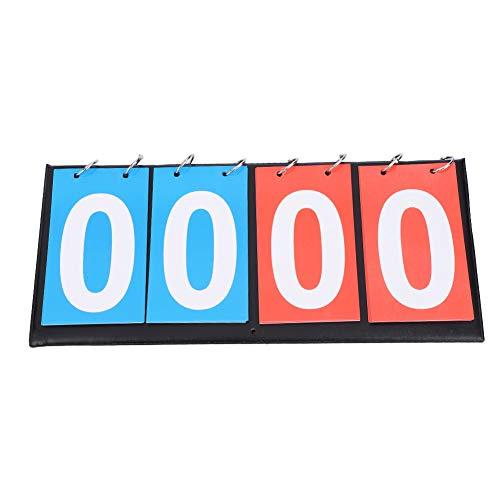 TAKE FANS 2/3/4-stellige Punkteanzeige, tragbar, Flip-Sport-Punktezähler, für Tischtennis, Fußball, Volleyball, Basketball (4 Ziffern rot + blau)
