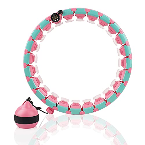 Weighted Hula Fitness Hoops for Adults with Counter, Weight Loss Home Exercise and Fitness Equipment for Women and Men, Hoola Hoop with 360° Massage and 24 Sections Adjustable (Pink with counter)