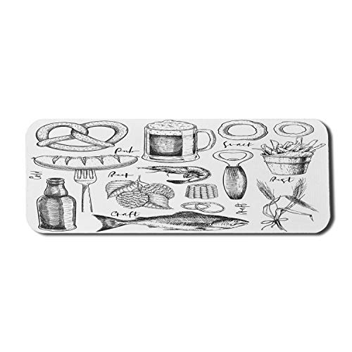 Bier Computer Mauspad, Oktoberfest Lebensmittel und Getränke Themen Grafik mit skizzenhaften Stil Zeichengegenstände, Rechteck rutschfeste Gummi Mousepad große Holzkohle grau weiß