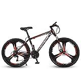 N/AO Mountain Trail Bike Frenos De Doble Disco Bicicleta De Cambio De 26 Pulgadas Bicicleta De Carretera De 21 Velocidades-Negro y Rojo