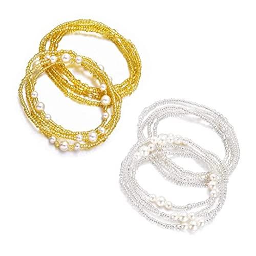 Ruluti 2packs Beads Cintura Set para Mujeres African African Cadena Cadena Cadena De Cintura Cadena De Vientre Colgante Elástico Elástico (Color Aleatorio)