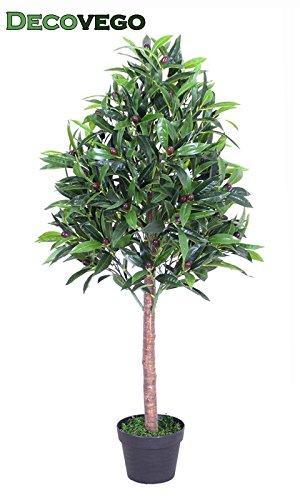 Decovego Olive Olivenbaum Olivenbusch Kunstpflanze Kunstbaum Künstliche Pflanze mit Echtholz 110cm