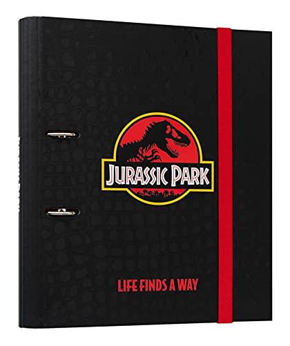 Grupo Erik Raccoglitore ad anelli A4 Jurassic Park con chiusura ad elastico per tenere al sicuro i tuoi appunti, perfetto come raccoglitore documenti o raccoglitore scuola