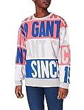 GANT Damen D1. Graphic Jacquard C-Neck Sweat Sweatshirt, Light Grey Melange, L