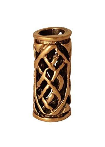 Battle-Merchant Bartperle Wikinger/Perle für Dreadlocks aus Bronze mit Zopfmuster Innendurchmesser 5mm
