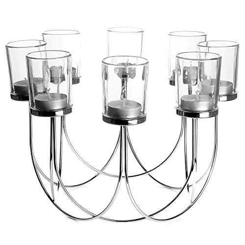 8 Glass Tea Light Holders | Candle Holder | Dining Table Decorations | Wedding Decor Centrepiece | Vintage Home Accessories | M&W (Chrome)