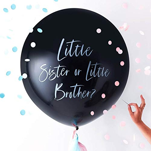 Riesen Luft-Ballon/Gender-Reveal-Balloon Little Sister or Little Brother? inklusive Konfetti-Füllung in rosa & blau / 91cm / Baby-Shower-Party/Baby-Party/Geburt Junge & Mädchen/Boy or Girl?
