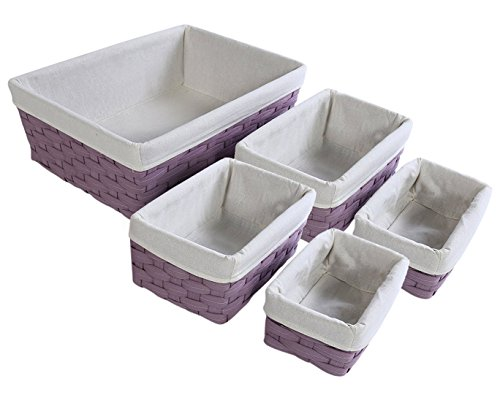 Juvale Nesting Baskets, Woven Storage Baskets (Lavender, 5 Piece Set)