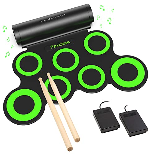 PAXCESS Electronic Drum Set, Roll Up Drum Practice Pad Midi Drum Kit with Headphone...