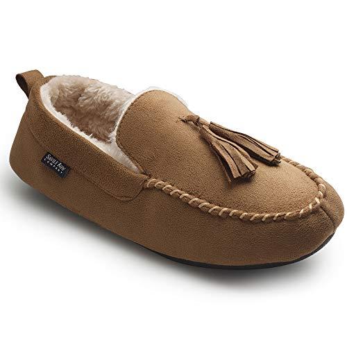 Savile Row Company Men's Tan Microsuede Moccasin Slippers 10