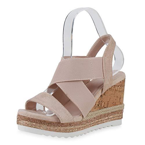SCARPE VITA Damen Plateau Sandaletten Kork-Optik Sommer Schuhe Keilabsatz Strass Sommer-Sandaletten Bast Sommer-Schuhe 196215 Rosa Total 40