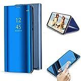 Cestor Überzug Mirror Leder Handyhülle für Samsung Galaxy S9, Blau Kristall Spiegel Flip Handytasche Ultra Dünn Galvanisieren Harte PC Schutzhülle für Samsung Galaxy S9