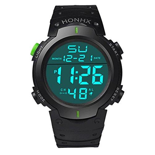 KanLin1986 Reloj para hombre LCD Digital de goma cronómetro reloj deportivo impermeable (Verde)
