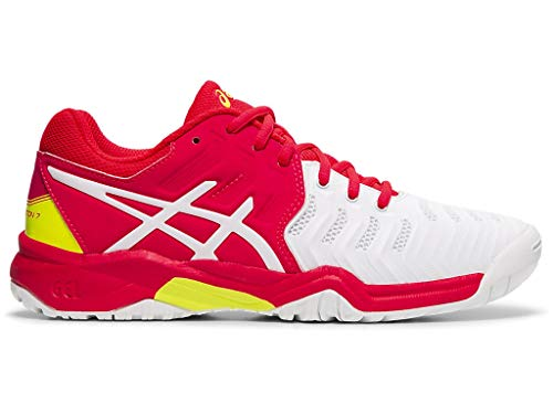 ASICS Kid's Gel-Resolution 7 GS Tennis Shoes, 5M, White/Laser Pink