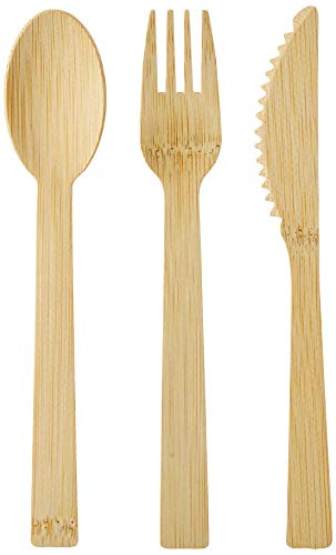 150 Stk. BAMBUS Einwegbesteck Set | Beste Qualität | vegan | Premium | Bambus Besteck stabil, Einwegbesteck Holz 0% | kompostierbar, biologisch abbaubar | 70 Bambusgabeln, 40 Messer, 40 Bambuslöffel