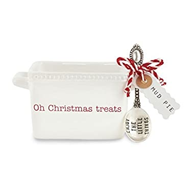 Mud Pie 4851091T Treats Candy Dish Ceramic, White