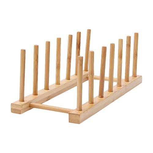 Escurreplatos y escurridor de bambú para cocina, multifuncional, bandeja de almacenamiento, soporte para almacenamiento de CD/Tableware/libro/copa de vino 6-grid