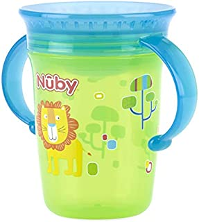 Nuby Any Angle Sip 360 - WONDER Cup W/Handle & Cover 240 ml 6m+Green with Aqua Cap - 10110410