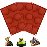 6 Holes Silicone Mold For Chocolate, 6 Holes Dia 2.55 inch Round Cake Molds Silicone Baking Molds for Making Chocolate, Cake, Jelly, Candy, Dome Mousse, Brick Red. (3 pcs)