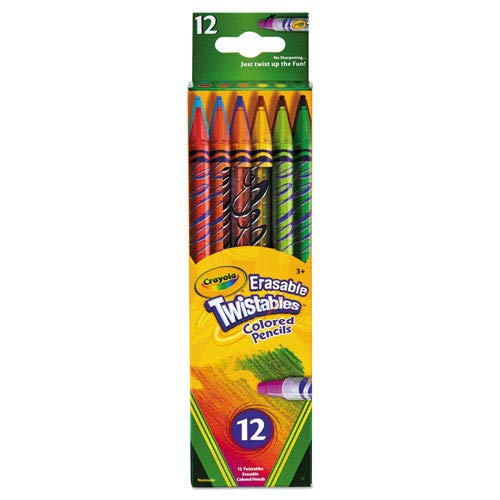 Crayola Products - Crayola - Twistables Erasable Colored Pencils, 12 Assorted Colors/Pack - Sold As 1 Pack - Erasable. - Built-in erasers. - Twistable with 12 colors. - Clear plastic barrels. -