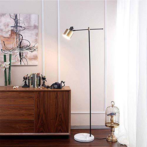 DSENIW QIDOFAN Lámpara de pie retro minimalista negro y cobre metal lámpara de pie con base de mármol blanco iluminación para muebles 0715P