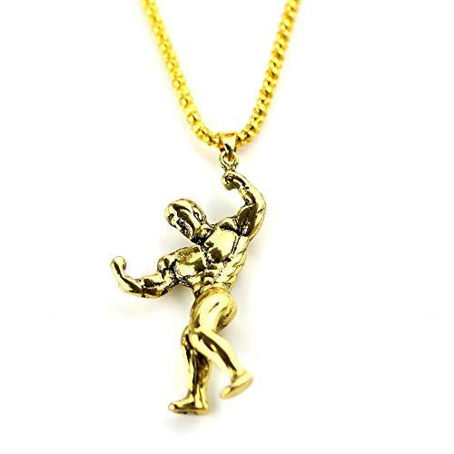 NA Halskette Gym Muscle Man Anhänger Halskette Bodybuilding Männlich Modellieren Halskette Fitness Charm Halskette Ornamente Gold
