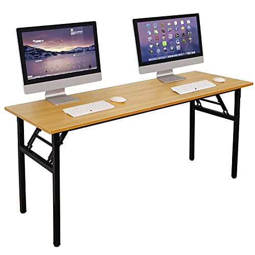 Need Computer Desk Office Desk 62 inches Folding Table with BIFMA Certification Computer Table Workstation No Install Needed, Teak AC5BB-157