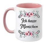 TassenTicker - ''Ich Hasse Menschen'' - beidseitig Bedruckt - Tasse - Kaffeetasse - Kaffeebecher -...