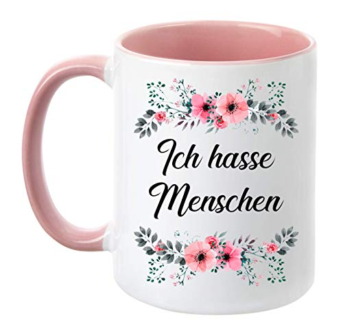 TassenTicker - ''Ich Hasse Menschen'' - beidseitig Bedruckt - Tasse - Kaffeetasse - Kaffeebecher - lustig - Geschenk - Arbeit (Rosa)