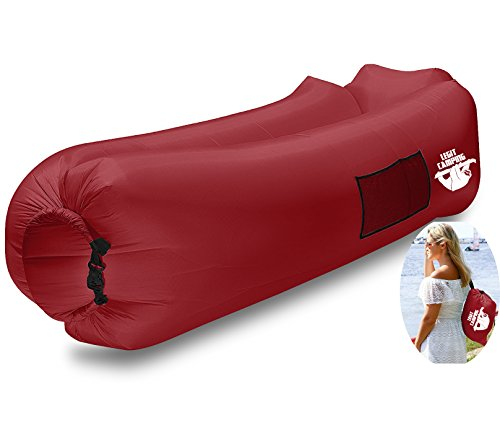 Inflatable Lounger by Legit Camping with Carrying Bag & Pockets for Indoors/Outdoors - Inflatable Couch & Air Chair with Headrest & Securing Stake- for Camping Beach or Pool (Sea Green)