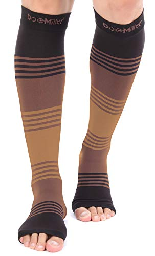 Doc Miller Premium Open Toe Compression Sleeve Dress Series 1 Pair 20-30mmHg Strong Support Graduated Sock Pressure Sports Running Recovery Shin Splints Varicose Veins (BlackBrownTan, Medium)