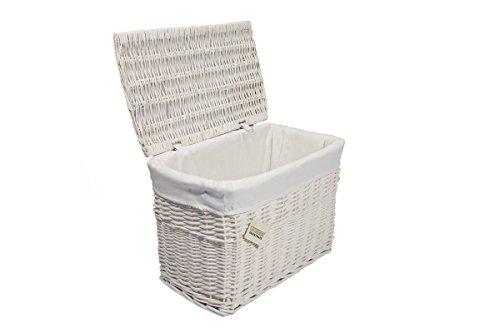 Medium White Wicker Storage Basket Trunk Chest Hamper Lidded with Cloth Linning