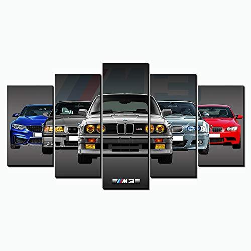 Giclee lienzo pared pared decoración Sport Gris Coche de carreras BMW M3 GTR Auto pintura, Home Decor Auto Sport imágenes New Home Amigos regalos marco clásico Pop-Cooler Superspursportwagen