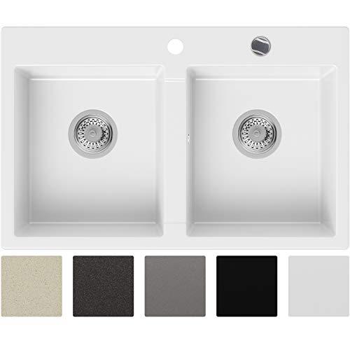 Granitspüle Weiß 78 x 50 cm, Spülbecken + Siphon Automatisch, Küchenspüle ab 80er Unterschrank in 5 Farben mit Siphon und Antibakterielle Varianten, Einbauspüle von Primagran