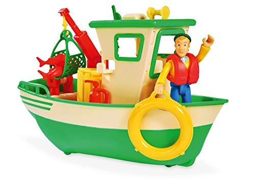 Simba 109251074 - Feuerwehrmann Sam Charlies Fischerboot, mit Charlie Figur, beweglicher Kran und mechanische Seilwinde, schwimmt auf dem Wasser, 19cm, für Kinder ab 3 Jahren