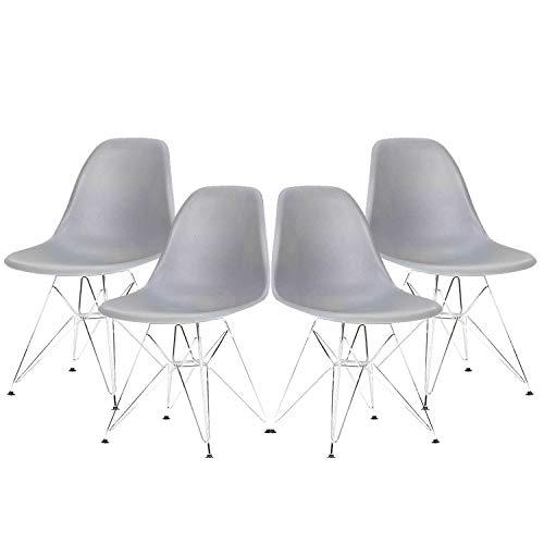 Juego de 4 sillas de Comedor Comedor Asiento de plástico Retro con Silla de Acero y Patas de Acero en Forma para Comedor, Sala y Cocina. (Gris)