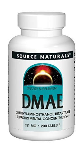 Source Naturals | DMAE (DiMethylAminoEthanol) | 351 mg | 200 vegetarische Tabletten | glutenfrei