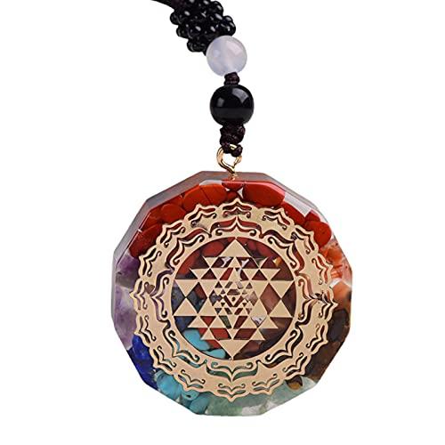 Fiauli Collar con colgante de 7 chakras con diseño de gota de cristal sintético, cadena para mujer y hombre, cordón ajustable, joyería de moda, regalo para fiestas, bodas, Aleación,