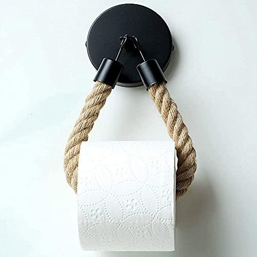 Toilettenpapierhalter Vintage Klopapierhalter Holz/Toilettenpapierhalter Holz WC Papier Halterung Klorollenhalter, WC Rollenhalter für Badezimmer Bad oder Küche, Vintage Dekoration Industrie Seil