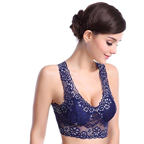 Amlaiworld Damen Elastischer Blumen Spitze BH Schöne elegant Unterwäsche bunt Yoga Sport BH für Mädchen (XL, Blau)