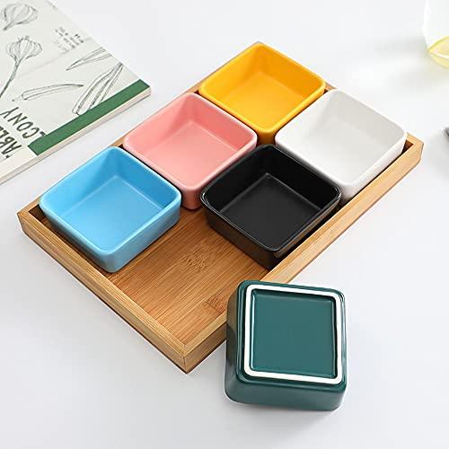 Xshelley Juego de 6 platos de cerámica para frutas, aperitivos, salsas o platos de combinación de bambú, 6 colores