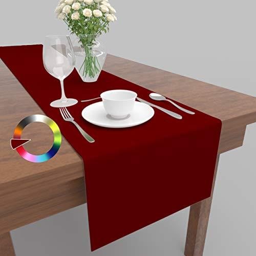 Rollmayer Hochwertiger Tischläufer Tischwäsche Uni einfarbig Pflegeleicht Kollektion Vivid, Farbe & Größe wählbar (Weinrot 13, 40x120cm)