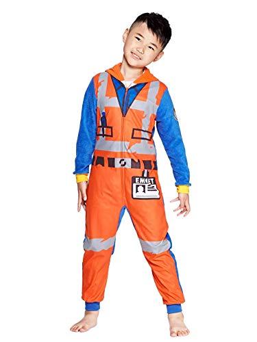 LEGO Movie 2 The Second Part Boys Emmet Micro Fleece Hooded Union Suit Pajamas (8, Orange)